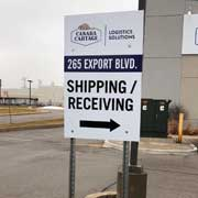 shipping and receiving wayfinfing sign